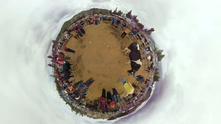 chimborazo : Riobamba, Ecuador - 09 October 2017: Little Planet Shot Of Ecuadorian Farmers Gathering At An Animal Market In Riobamba On October 09, 2017