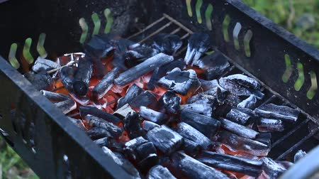 charcoal stove : Burning charcoal barbecue stove Stock Footage