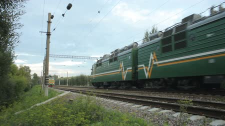 two trains pass at high speed. Стоковые видеозаписи