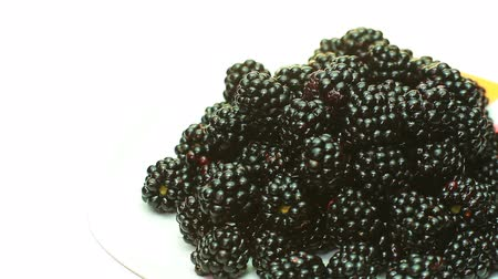 black berry : BlackBerry is rotating in the plate. Stock Footage