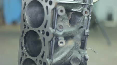 cylinder : Pistons of the engine with connecting rods. Spare parts for diesel engine Stock Footage