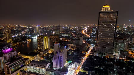 ночная жизнь : Bangkok Time lapse night city life Стоковые видеозаписи