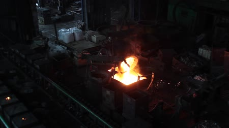 open hearth : hot metal in the tank