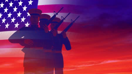 veterano : Render of guard of honour saluting against the sky and the American flag