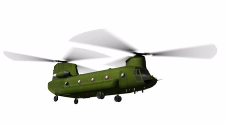 counterterrorism : Render of helicopter CH-47 flying on white matte Stock Footage