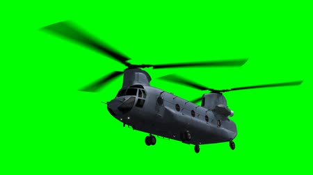 counterterrorism : Render of helicopter Chinook flying on green screen