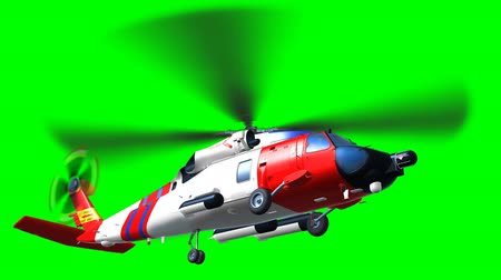 copter : Render of helicopter coast saving helicopter fly on green screen Stock Footage