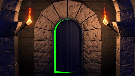 zöld : Render of movement along a dungeon with four flaming torches and jail to exit  through an opening door to a green screen