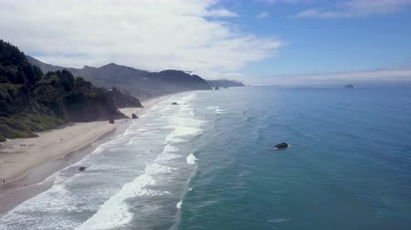 atmosphere : Aerial shot of beach on Oregon coast with cliffs and ocean waves Stock Footage