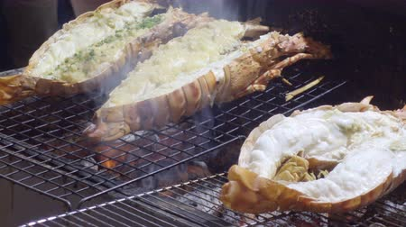 lobster grill as street food in Bangkok Thailand