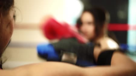 bokszoló : A young girl woman trainer holds boxing paws for her Latin pupils. Back view. The punches are stuffed. Trained