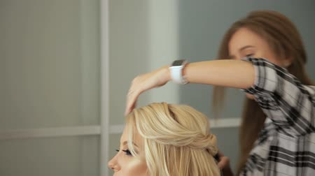 plated : Beauty saloon. Hairdresser styling hair in a blonde hairstyle.