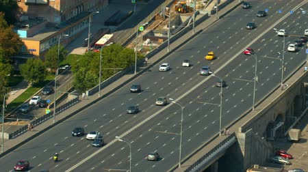 no traffic : a wide road bridge, go over the bridge cars, top view Stock Footage