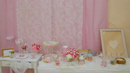 delicious : Beautiful sweet table at the event. Stock Footage