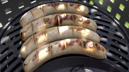 meat pepper mushrooms and sausages on the BBQ. Stock Footage
