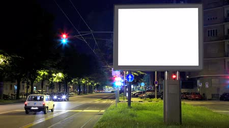 billboards : Billboard in the city street, blank screen time lapse hd Stock Footage