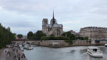 Notre Dame cathedral in Paris with Seine river view in the evening