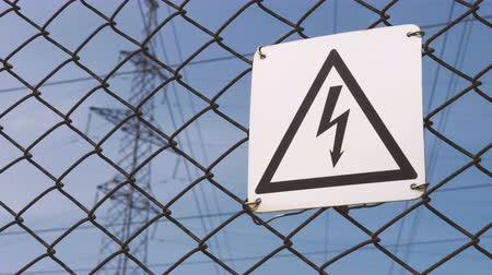 electric : Warning sign of danger. High - voltage electrical substation. Probability of electric shock. Electric wires on the support. electricity