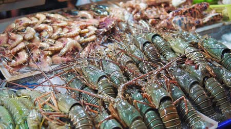 slávka jedlá : Fresh seafood, lobsters, shrimps, crabs are in the ice on the counter at the night market close up