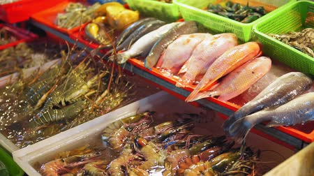 visboer : Fresh sea fish, shrimps, spiny lobsters, shellfish on the counter at seafood market in Asia