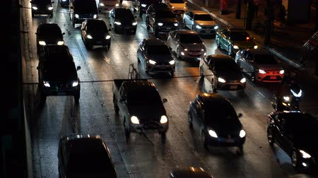bottleneck : Cars in the traffic jam at night time in the city Stock Footage