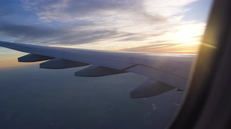 the wing of the aircraft in the setting sun. air travel, travel to other countries, aviation and transportation of passengers and cargo