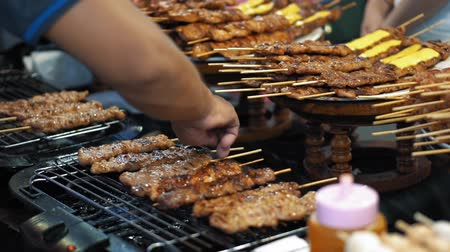 grille : Delicious kebabs slowly fried on a hot grill, slow motion. The smoke from yummy bbq meat Stock Footage