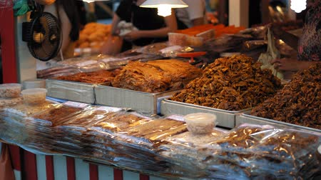 exotic dishes : Street food at the Asian night market. Traditional Thai dishes are sold in the evening