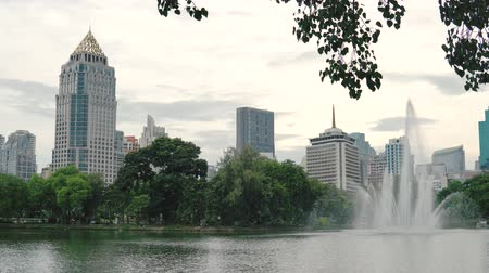 aqua park : Beautiful high fountain on the lake surface in the city Park on downtown buildings background. Fountain spray falling in pond, a relaxing view