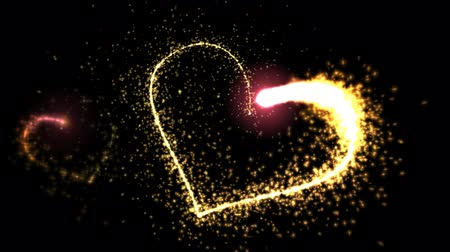 kraker : Two sparkle flames glitter to form hearts Stok Video
