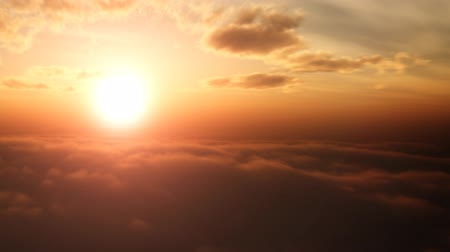sunset light : Aerial pan shot over clouds during beautiful sunset