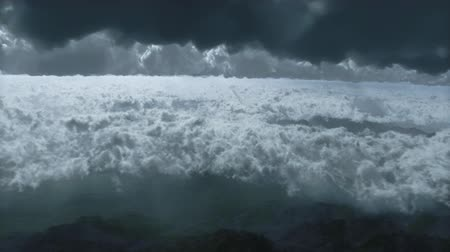 light : Aerial shot of flying over of cloudy sky over reviewing mountain range Stock Footage