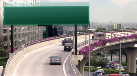 A flyover with empty high tech traffic signboard Stok Video