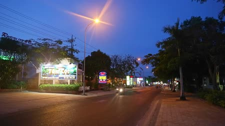 cobalt : Road in small asian city at evening night.