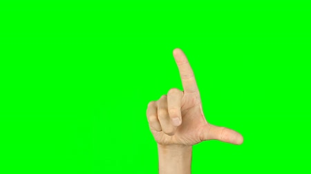 фантастический : Slide rotate pinch zoom finger gestures. Front view hand on green screen. Multi touch gestures hand on green screen. Have same back view. Virtual screen gestures. Contains solid green instead alpha. Стоковые видеозаписи