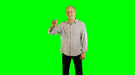 fosco : Adult caucasian man with toothy smile gestures alpha channel. Hand gestures draw line click tap swipe slide. Upper-half dolly shoot. Template advertise tourism hotels restaurants cafe resorts service.