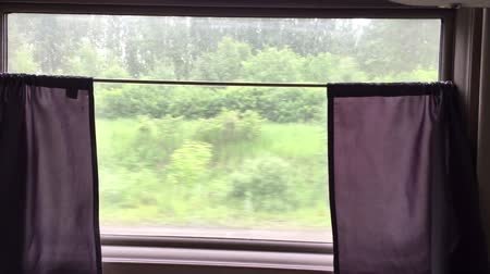 prędkość : View behind window of train. Train run ride on high speed by railway.