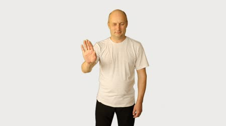 índice : Set hand, fingers and head gestures. White caucasian man alpha channel. Green screen studio shot. Male model. Template for advertising tourism, service, HoReCa. Man with virtual screen. Premultiplied.