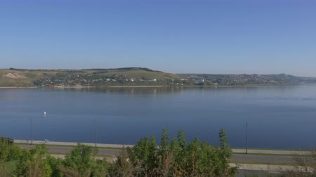 volga region : Panorama of Volga river Sviyazhsk, Republic of Tatarstan, Russia. Stock Footage