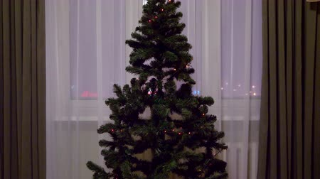 ladin : Beautiful New Year decorated tree with glowing colorful lights, green shiny Christmas fir with garland, stars and sparkles. Home living room indoors background. Fir tree evergreen tree fir-tree. Stok Video