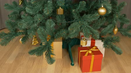 ajándékdobozban : Gift box under green christmas fir tree. Red white brown gift box stands at floor. Christmas eve celebration holiday. Family Presents. Time lapse close up locked down shot. Stock mozgókép