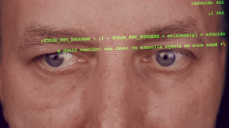 брови : Close up man face grey eyes. Hacker typing code. Green type on screen. Programmer coding software of site. A hacker is preparing an attack on hacking portal. Typing code on virtual screen.