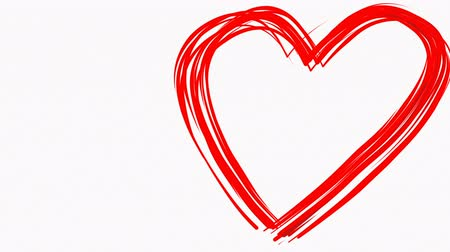 çizmek : Heart shape drawn like by paintbrush red color on white background. Love sign symbol. Valentines day. Loopable. Empty space for text. Loopable. Stok Video