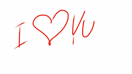casado : I love you sign symbol written by hand red color at white background. Shape of heart filled red. Love concept.