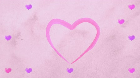 casado : Watercolor lilac pink purple hearts appearing at carton paper like drawing of artists. Heartbeat bounce motion. Animation of hearts for Valentine Day or wedding. Loopable. Stock Footage