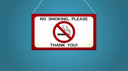 interdiction : No smoking sign on white background Blue background.