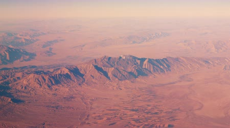 yemen : Flight above desert Rub al Khali at Saudi Arabia. Red sands and blue sky. Horizon line. Nature. Empty space for text Stock Footage