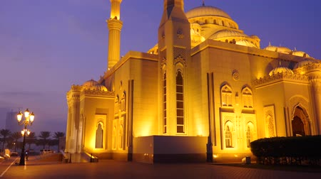 mussulman : Walk along the Arabian mosque at night. A lone cyclist rides through the park alley. Illuminated gold lights mosque.