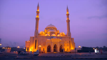 mussulman : Al Noor mosque in Sharjah front view. Locked down shot night scene in Arabia.