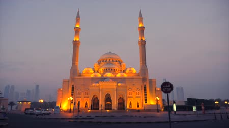 mussulman : Illuminated mosque at night. Mist and dusk around mosque and gold light of lanterns shine. Islam architecture.